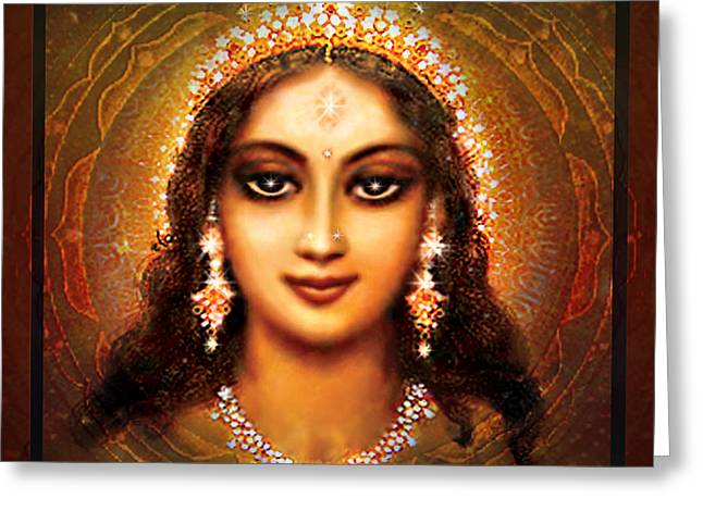 Blessing Greeting Cards - Durga in the Sri Yantra - dark Greeting Card by Ananda Vdovic