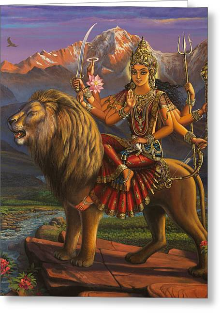 Sacred Paintings Greeting Cards - Durga Ma Greeting Card by Vrindavan Das