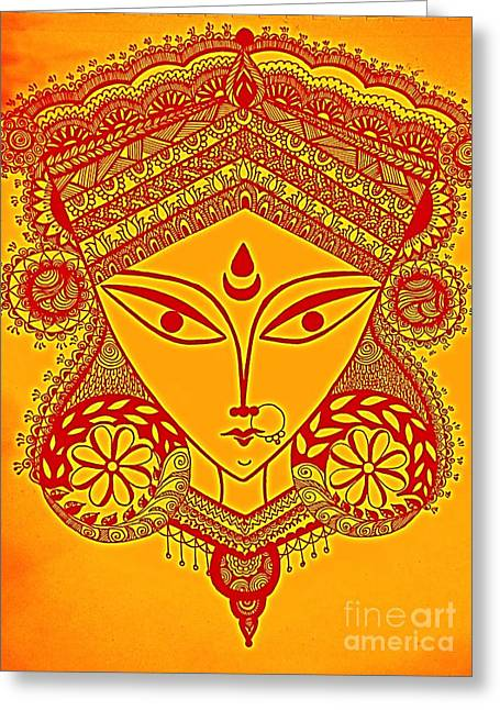 Parvathi Greeting Cards - Durga Maa Greeting Card by Sketchii Studio