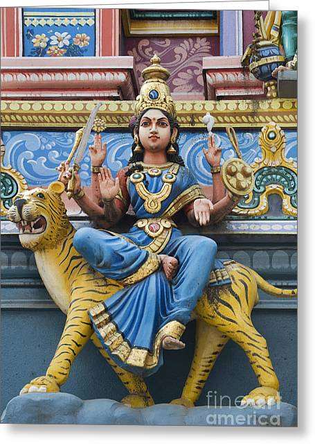 Hindu Goddess Photographs Greeting Cards - Durga Statue on Hindu Gopuram Greeting Card by Tim Gainey