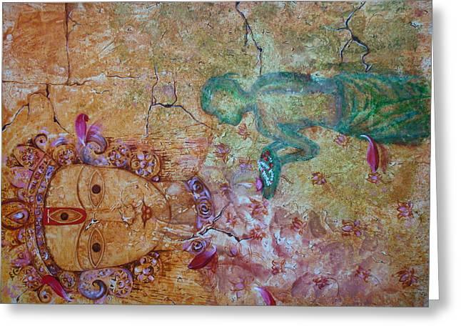 Goddess Durga Paintings Greeting Cards - Durga Greeting Card by Sunanda Kalyani