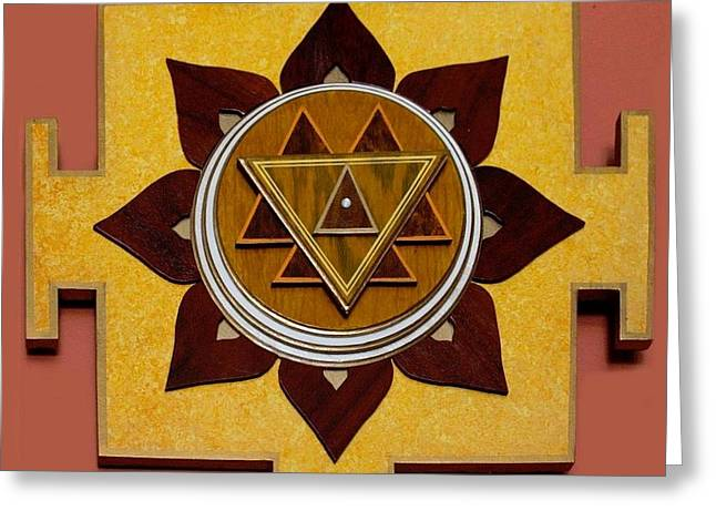 Sacred Sculptures Greeting Cards - DURGA YANTRA BLESSINGS SACRED 3D HIGH RELIEF ARTISTICALLY CRAFTED WOODEN YANTRA    23in x 23in Greeting Card by Peter Clemens