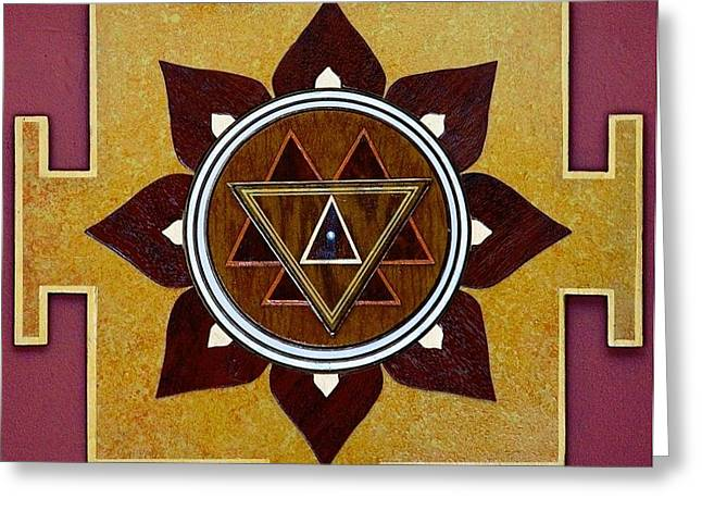 Sacred Sculptures Greeting Cards - DURGA YANTRA SACRED 3D HIGH RELIEF ARTISTICALLY CRAFTED WOODEN YANTRA    23in x 23in Greeting Card by Peter Clemens