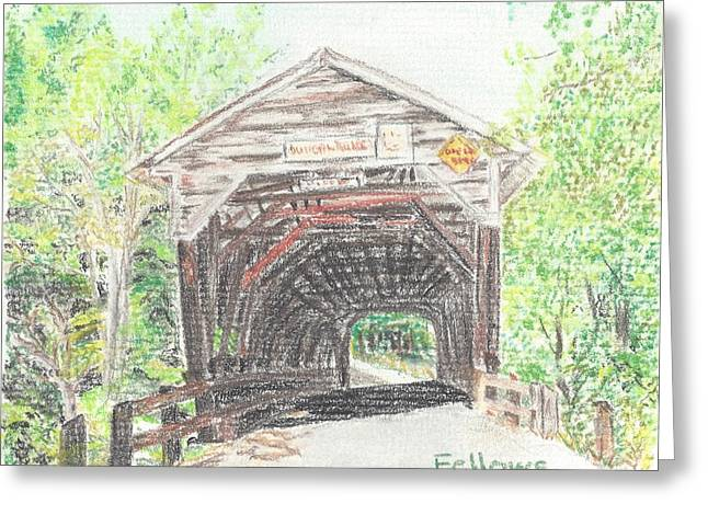 Covered Bridge Pastels Greeting Cards - Durgan Bridge Greeting Card by Florence Fellows