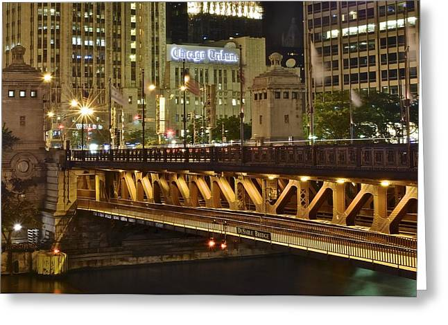 Chicago Bulls Greeting Cards - DuSable Bridge and Chicago Tribune Greeting Card by Frozen in Time Fine Art Photography