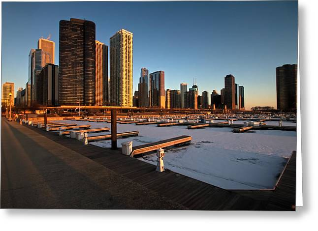 Lake Michgan Greeting Cards - DuSable Harbor in Chicago at sunrise Greeting Card by Sven Brogren
