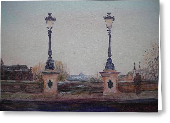 Street Lamps Greeting Cards - Dusk, 2010 Oil On Canvas Greeting Card by Antonia Myatt