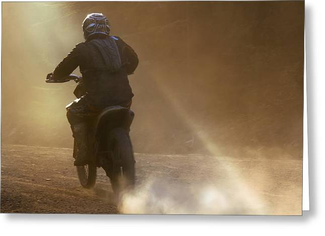 Enduro Greeting Cards - Dusk And Dust Greeting Card by Angel  Tarantella