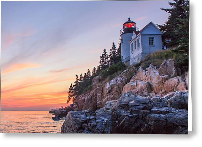 Dusk at Bass Harbor Light Greeting Card by Stephen Beckwith