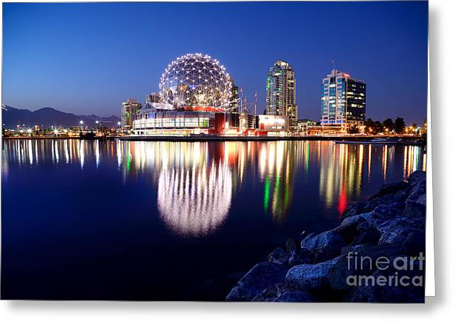 Telus Greeting Cards - Dusk At False Creek  Greeting Card by Terry Elniski
