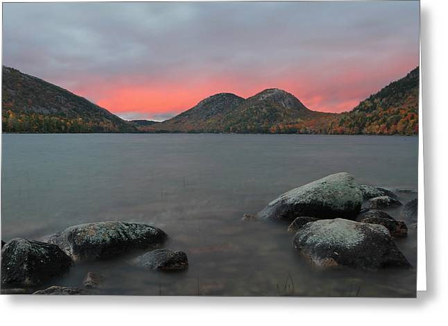 Dusk At Jordan Pond And The Bubbles Greeting Card by Juergen Roth