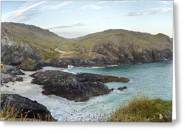 Beach Scenery Greeting Cards - Dusk at Kynance Cove Greeting Card by Helen Hotson