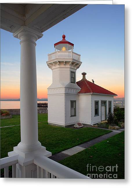 Red Roof Photographs Greeting Cards - Dusk at Mukilteo Lighhouse Greeting Card by Inge Johnsson