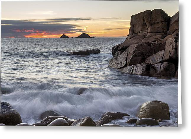 Kernow Greeting Cards - Dusk at Porth Nanven Cove Greeting Card by Helen Hotson