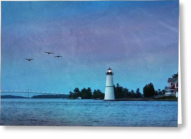 Bay St. Lawrence Greeting Cards - Dusk at Rock Island Greeting Card by Lori Deiter