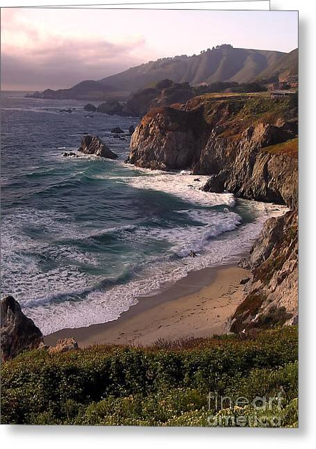 Big Sur Greeting Cards - Dusk at Rocky Creek Greeting Card by Bill Johnson