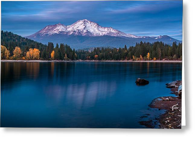 Reflections On Snow Greeting Cards - Dusk at Siskiyou Lake Greeting Card by Greg Nyquist