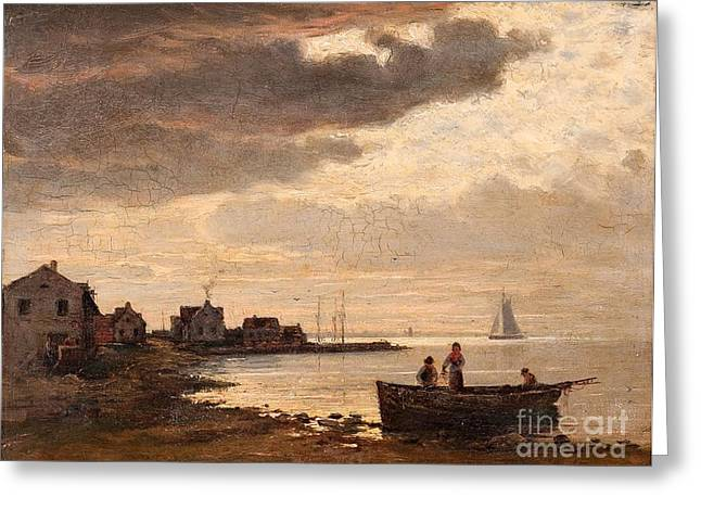 Oslo Paintings Greeting Cards - Dusk At The Fishing Village Greeting Card by Oscar Kleineh