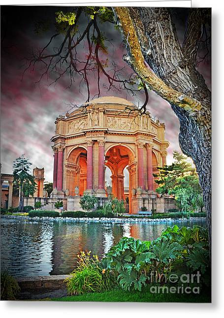 California Tourist Spots Greeting Cards - Dusk at the Palace of Fine Arts in the Marina District of San Francisco II Altered Version Greeting Card by Jim Fitzpatrick