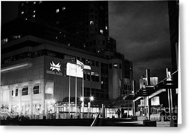 North Vancouver Greeting Cards - dusk at the pan pacific hotel canada place building Vancouver BC Canada Greeting Card by Joe Fox