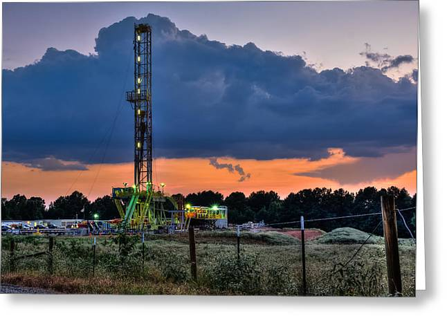 Fine Art Photography Greeting Cards - Dusk at the Rig Greeting Card by Geoff Mckay