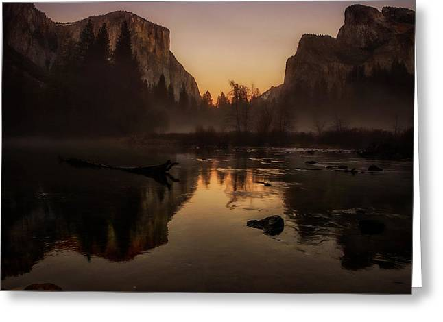 Bridalveil Falls Greeting Cards - Dusk at Valley View Yosemite National Park Greeting Card by Scott McGuire