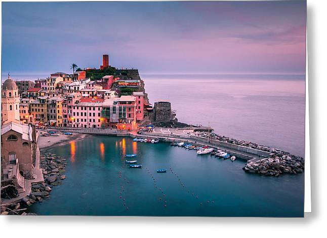Purple Sky Greeting Cards - Dusk at Vernazza Greeting Card by Josh Eral