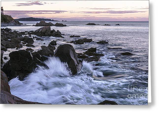 Dusk At West Quoddy Head Light Greeting Card by Marty Saccone