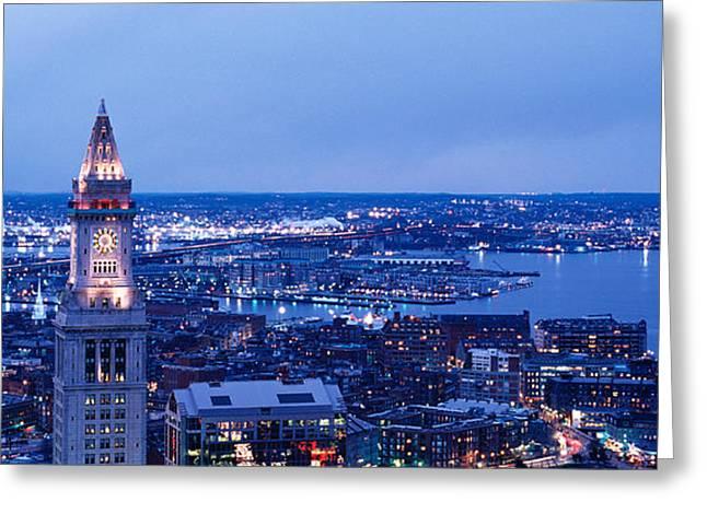 Dusk Boston Massachusetts Usa Greeting Card by Panoramic Images