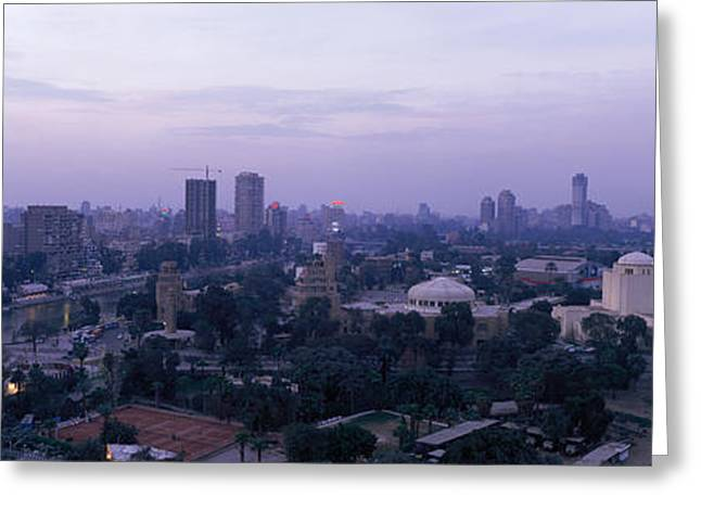 Muslem Greeting Cards - Dusk Cairo Gezira Island Egypt Greeting Card by Panoramic Images