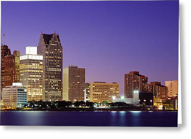 Glassy Lake Surface Greeting Cards - Dusk Detroit, Michigan, Usa Greeting Card by Panoramic Images
