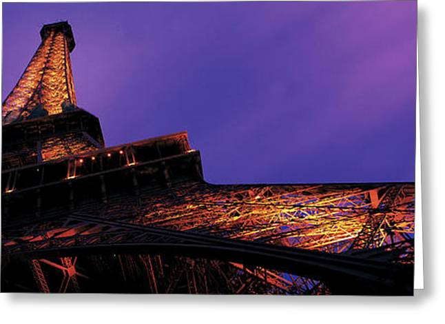 Ironwork Greeting Cards - Dusk Eiffel Tower Paris France Greeting Card by Panoramic Images