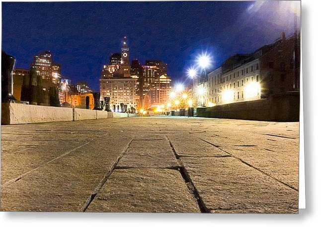 Dusk Falls On Boston's Long Wharf Greeting Card by Mark Tisdale