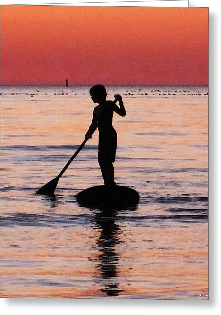 Children At Beach Greeting Cards - Dusk Float - Sunset Art Greeting Card by Sharon Cummings