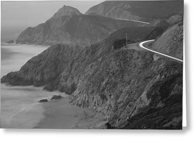 Roadway Greeting Cards - Dusk Highway 1 Pacific Coast Ca Usa Greeting Card by Panoramic Images
