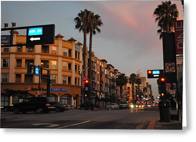 Long Street Greeting Cards - Dusk in Long Beach Greeting Card by Mountain Dreams
