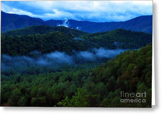 Smoky Digital Art Greeting Cards - Dusk in the Smoky Mountains   Greeting Card by Nancy Mueller
