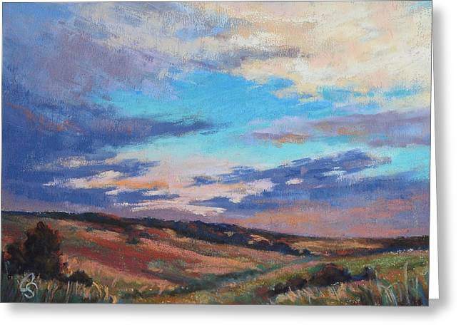 Dusk Pastels Greeting Cards - Dusk in the Valley Greeting Card by Cristine Sundquist
