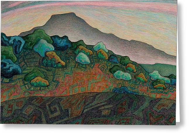 Santa Fe Pastels Greeting Cards - Dusk in the valley of the shinning stone Greeting Card by Dale Beckman