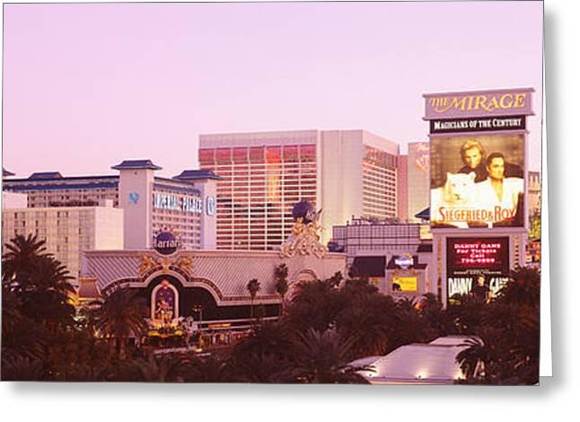 Mirage Greeting Cards - Dusk Las Vegas Nv Greeting Card by Panoramic Images