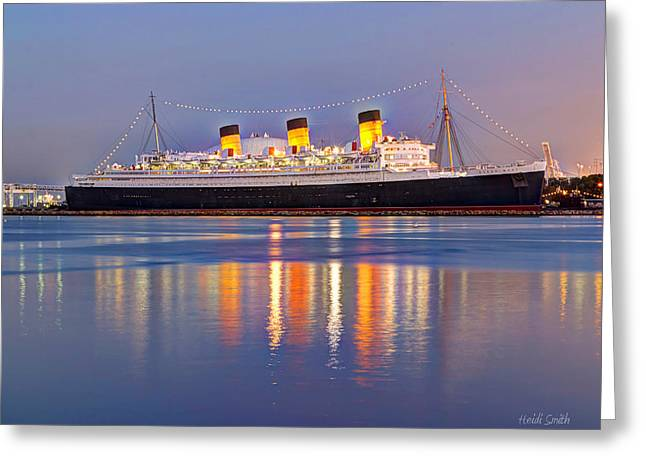 Manufacturing Greeting Cards - Dusk Light On The Queen Mary Greeting Card by Heidi Smith