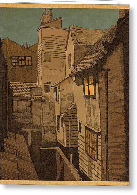 Alleys Greeting Cards - Dusk Greeting Card by Meg Shearer