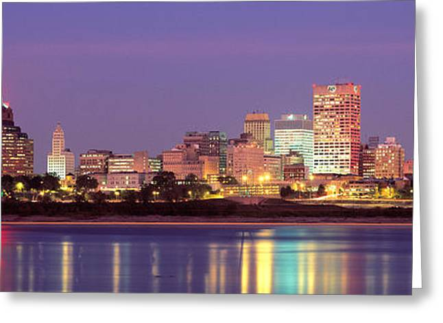 Tennessee River Greeting Cards - Dusk, Memphis, Tennessee, Usa Greeting Card by Panoramic Images