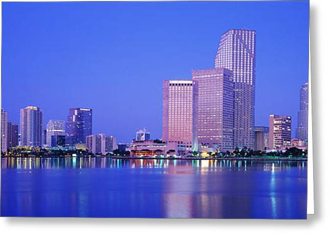 Illuminate Greeting Cards - Dusk, Miami Florida, Usa Greeting Card by Panoramic Images