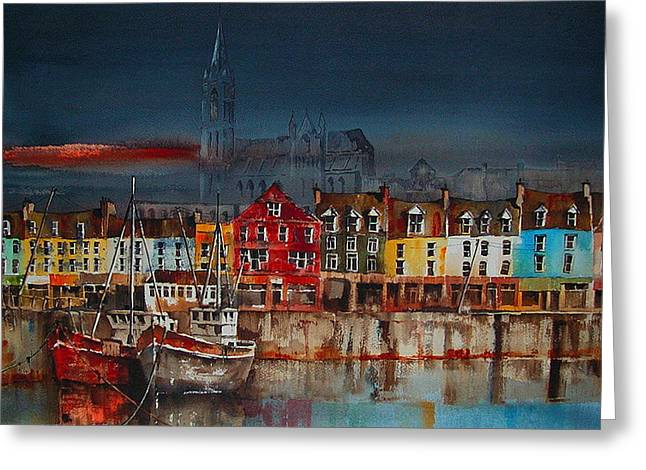 Val Byrne Greeting Cards - Dusk on Cobh harbour Cork Greeting Card by Val Byrne