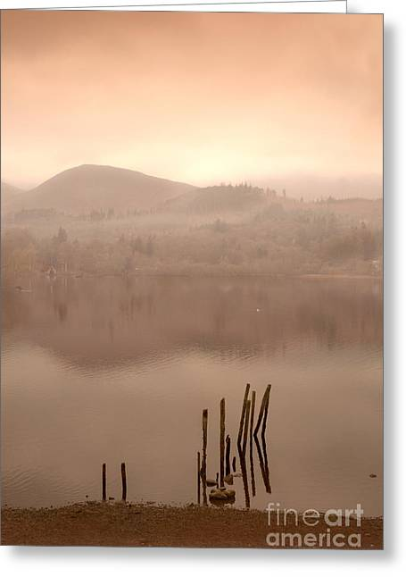Wainwright Greeting Cards - Dusk On Derwent Greeting Card by Linsey Williams