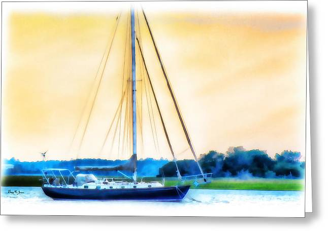 Sailboat Ocean Greeting Cards - Sailboat - Coastal - Dusk on the Coast Greeting Card by Barry Jones