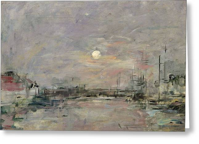 Docked Sailboat Greeting Cards - Dusk on the Commercial Dock at Le Havre Greeting Card by Eugene Louis Boudin