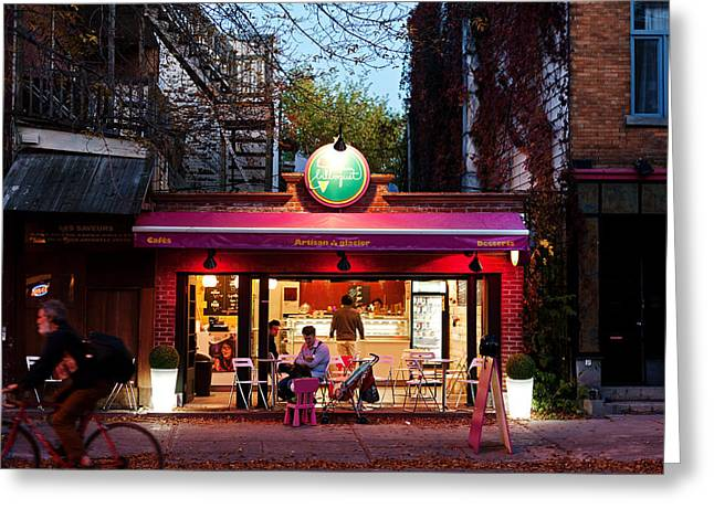 Sorbet Greeting Cards - Dusk on the Ice Cream store Greeting Card by David Giral