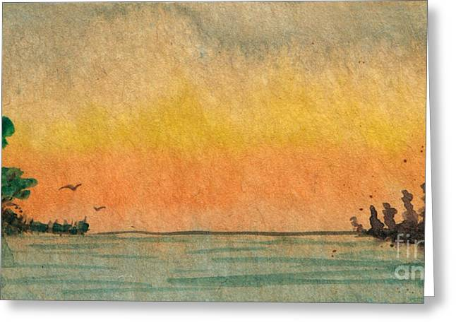 Gloaming Paintings Greeting Cards - Dusk on the Inlet Greeting Card by R Kyllo